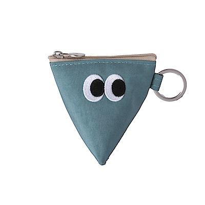 Livework SOMSOM三角耳機收納拉鏈刺繡包-天藍