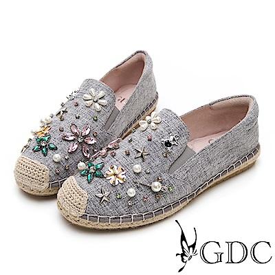 GDC-歐美小香風水鑽小花舒適平底草編漁夫鞋-灰色