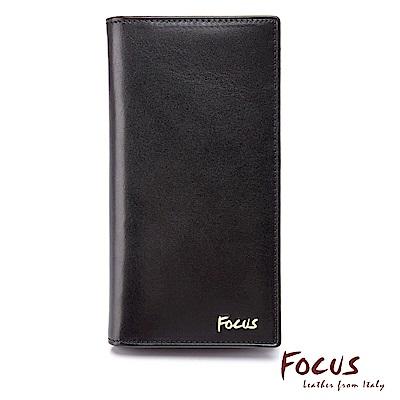 FOCUS原皮時尚黑直立式透明窗長夾(FGB3688)