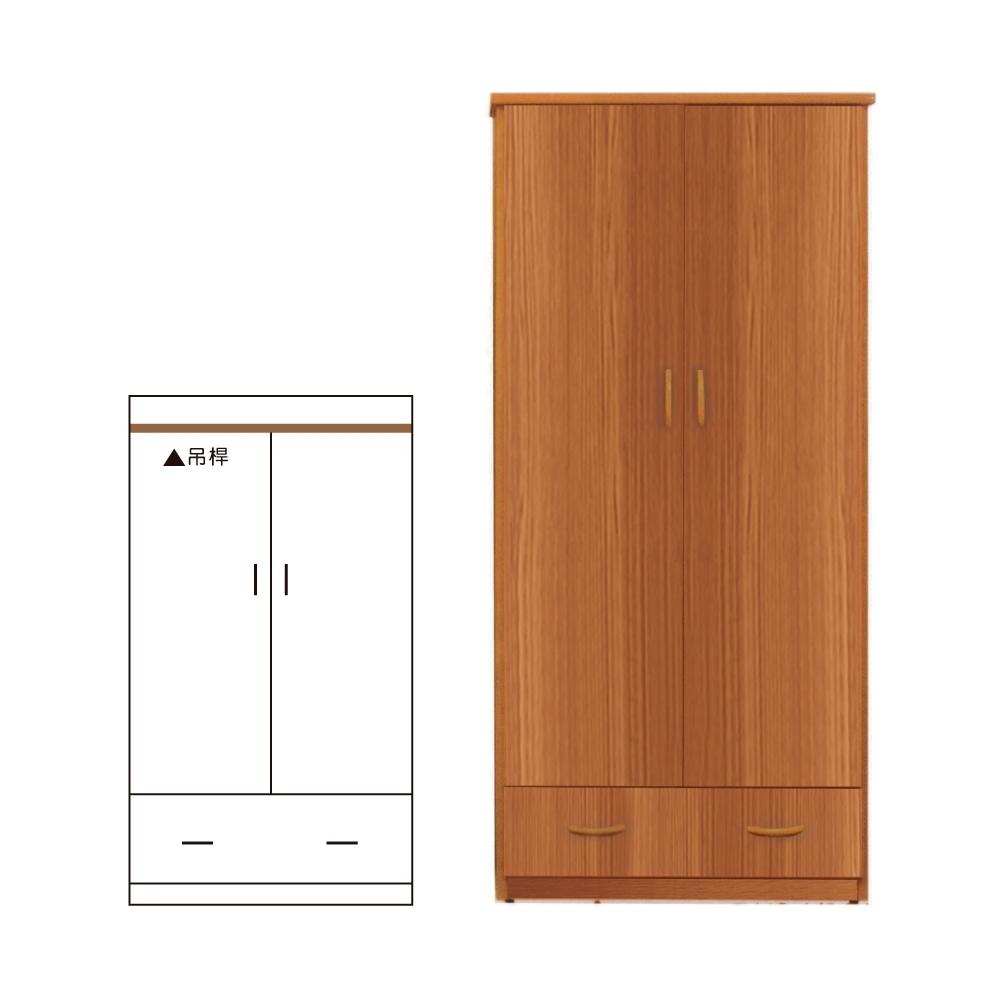 韓菲-南方松色一抽塑鋼雙門衣櫃-91x46.5x180cm