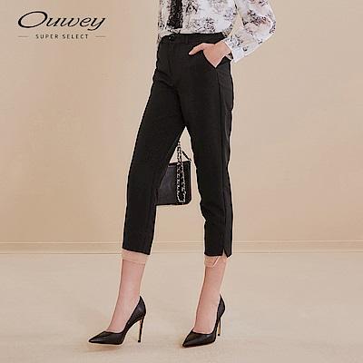 OUWEY歐薇 都會風異材質拼接西裝褲(黑)