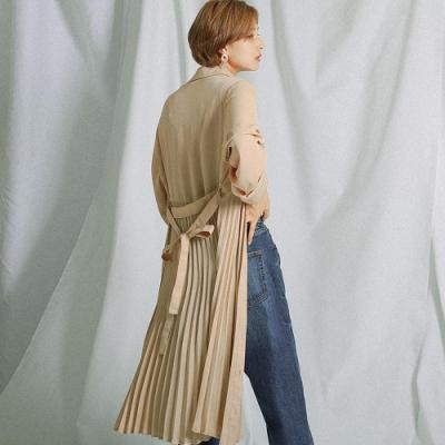 Fashion Letter 排扣綁繩百摺雪紡襯衫連衣裙-M.L(共四色)