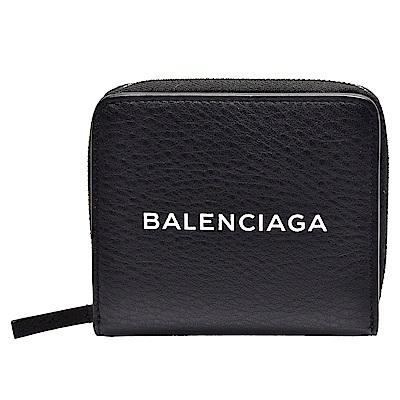 BALENCIAGA 經典品牌字母LOGO烙印小牛皮零錢袋短夾(黑)