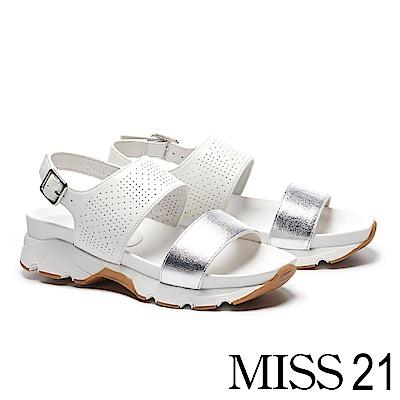 涼鞋 MISS 21 夏日一字帶撞色拼接幾何沖孔厚底涼鞋-白