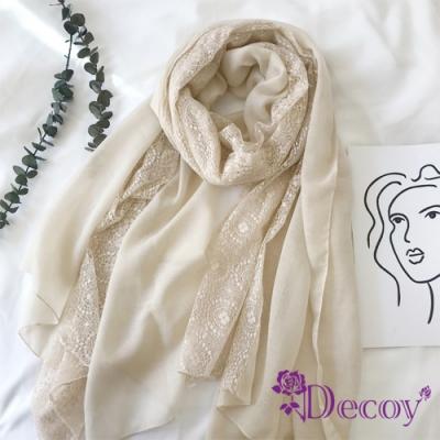 Decoy 拼接蕾絲 日系純色棉柔透膚圍巾 米