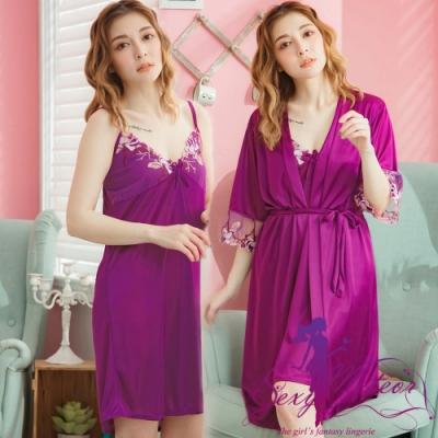 睡衣 全尺碼 V領睡裙+網紗繡花罩衫睡袍二件式睡衣組(神秘紫) Sexy Meteor