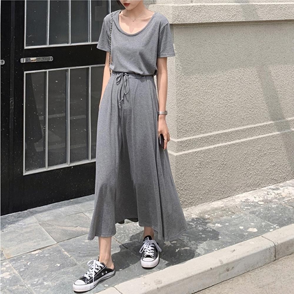 2F韓衣-簡約素色精梳棉上衣長裙套裝-2色-(M-2XL)