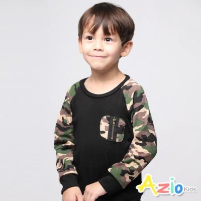 Azio Kids 男童 上衣 迷彩拉鍊口袋棒球長袖上衣(黑)