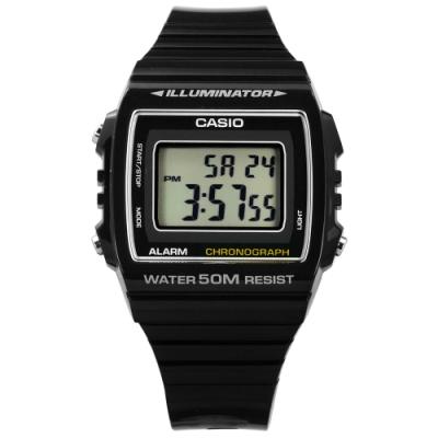 CASIO 卡西歐 計時電子橡膠手錶-黑色 W-215H-1A 38mm