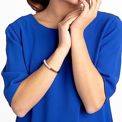 CALVIN KLEIN Circling 系列時尚珍珠香檳金手環-XS