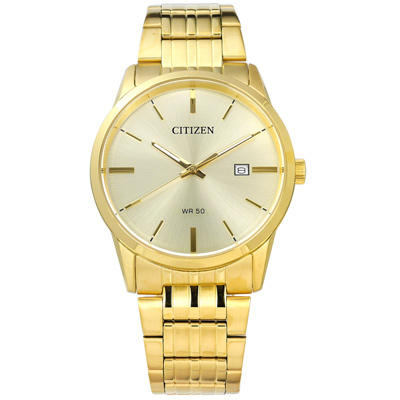 CITIZEN 星辰表 日期視窗礦石強化玻璃日本機芯不鏽鋼手錶-鍍金/39mm