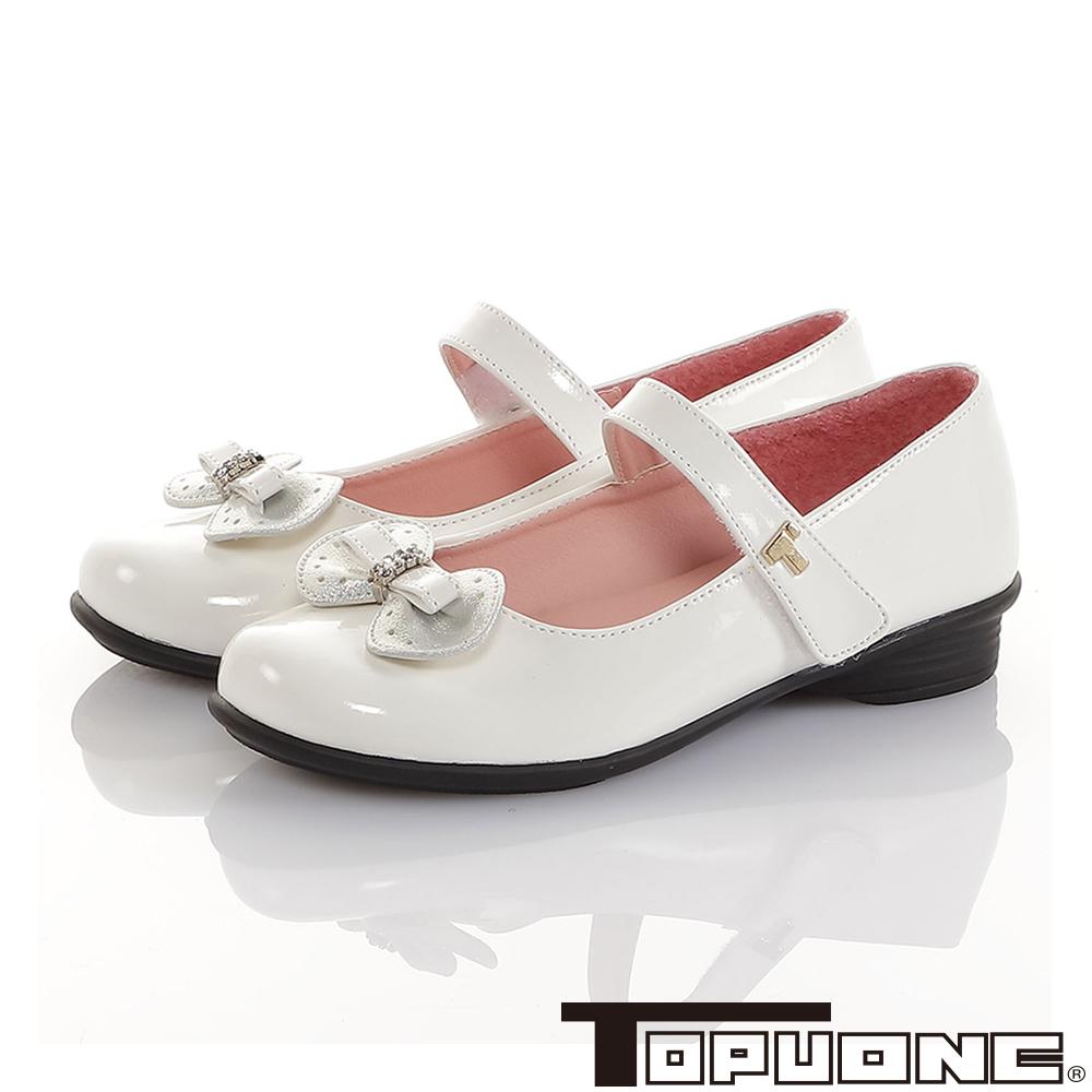 TOPUONE童鞋 真皮傳統手工皮鞋水鑽減壓包鞋-白