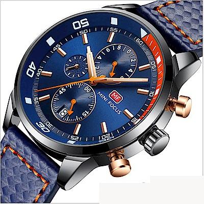 美國熊 商務男士 真三眼計時 日期窗顯示 真皮腕錶