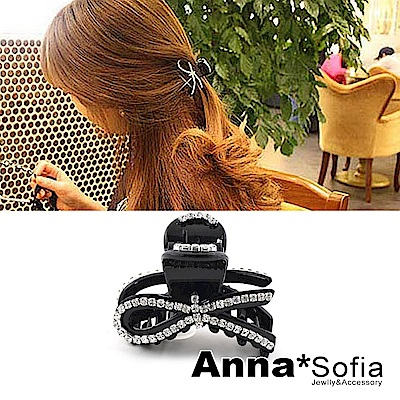 【3件480】AnnaSofia 單線蝶結晶鑽 小髮抓(酷黑)