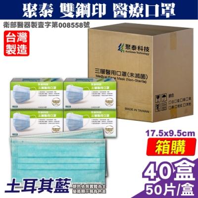 聚泰 聚隆 雙鋼印 成人醫療口罩-土耳其藍(50入x40盒) 箱購