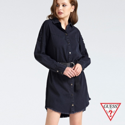 GUESS-女裝-率性長袖丹寧洋裝-藍