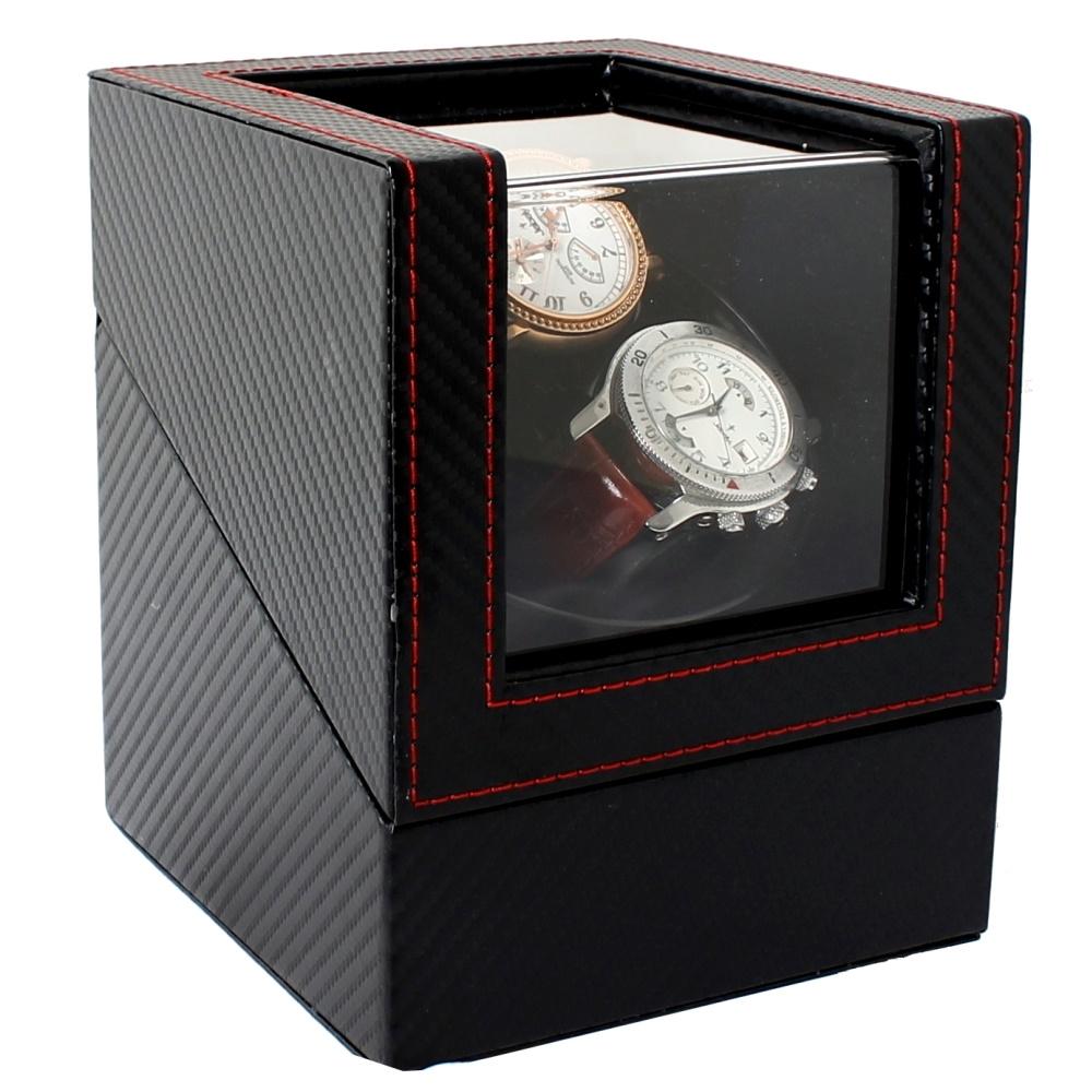 【Winders365】小精靈PLUS碳纖維自動腕錶上鍊機/機械錶動力儲存裝置(2只腕錶轉台)