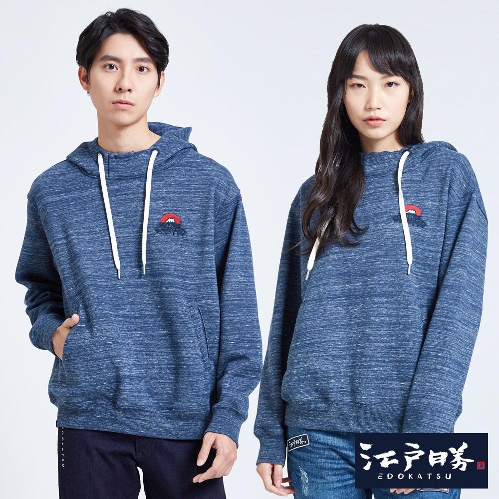 EDO KATSU江戶勝 繡花刷毛寬版連帽長袖T恤-中性-灰藍色