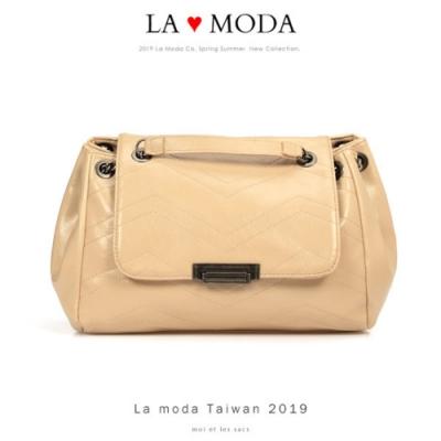 La Moda 高雅時尚超大容量多種背法肩背斜背鍊帶包(杏)