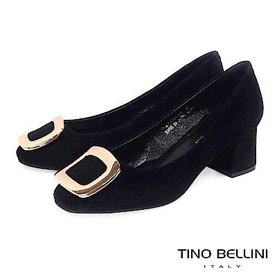Tino Bellini 優雅氣質羊麂皮方釦中跟鞋 _ 黑