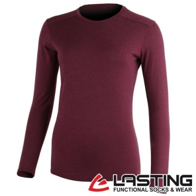 【LASTING捷克】女款羊毛抑菌除臭透氣保暖內著長袖T恤LT-LADA深紫紅