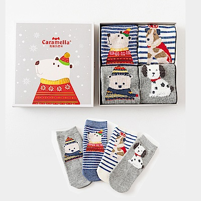 秋冬寶寶中筒卡通童襪4雙組-冬日氛圍