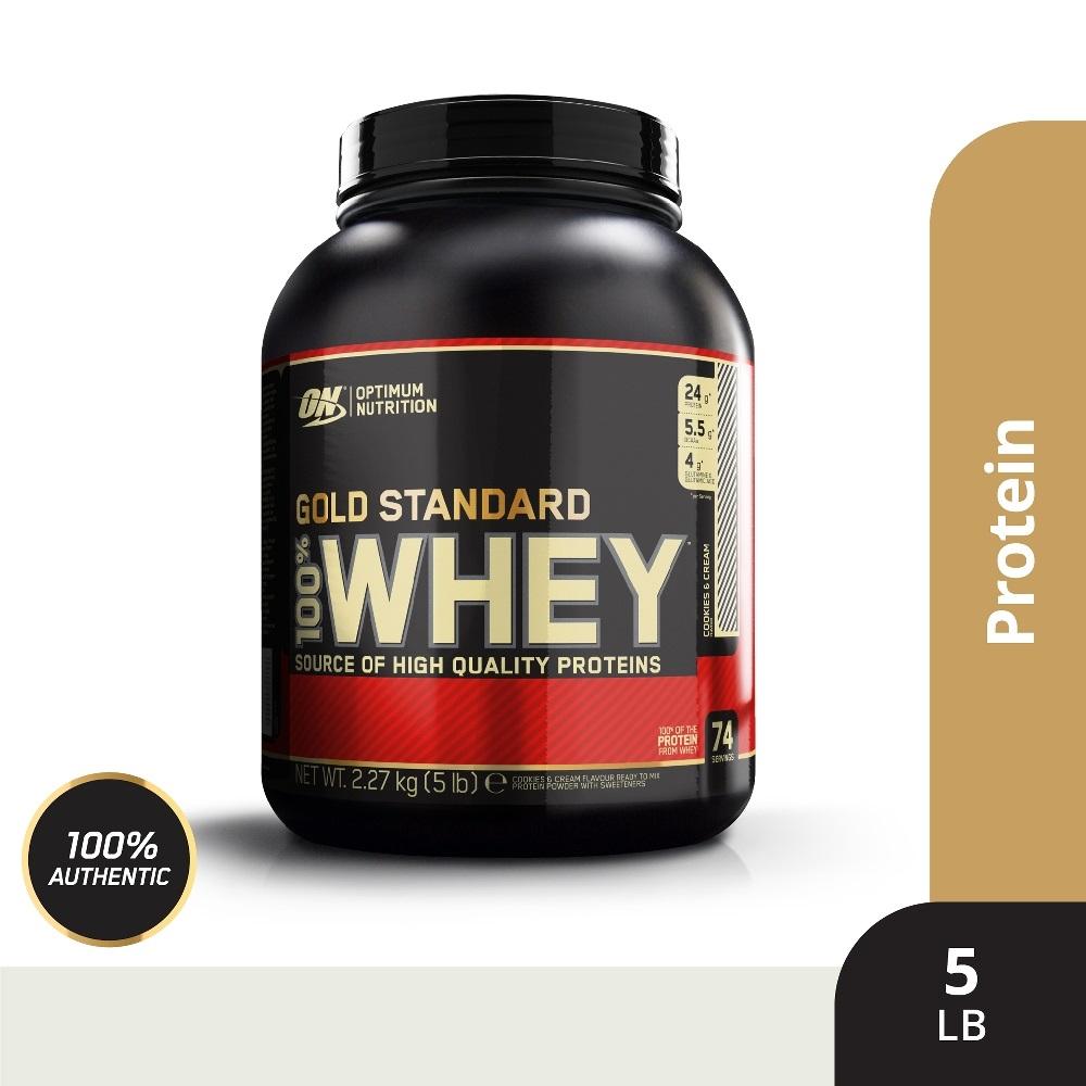 (買就送三層搖搖杯)[美國 ON] 金牌 WHEY 乳清蛋白(5磅/罐)