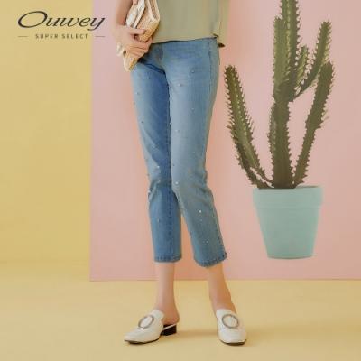 OUWEY歐薇 閃亮釘珠高彈力修身牛仔褲(藍)