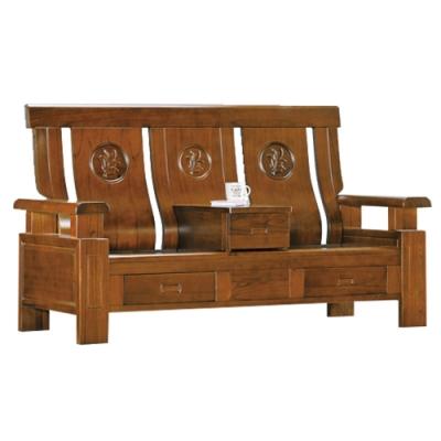 綠活居 賽米普典雅風實木抽屜二人座沙發椅(三抽屜設置)-172x77x103cm免組