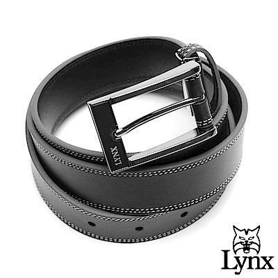 Lynx - 美國山貓雅致簡約真皮穿針式皮帶-黑色
