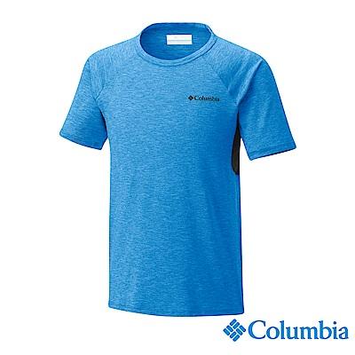 Columbia 哥倫比亞 男童-防曬50快排短袖上衣-藍色UAB00150BL