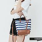 H:CONNECT 韓國品牌- 拼接材質托特包-藍