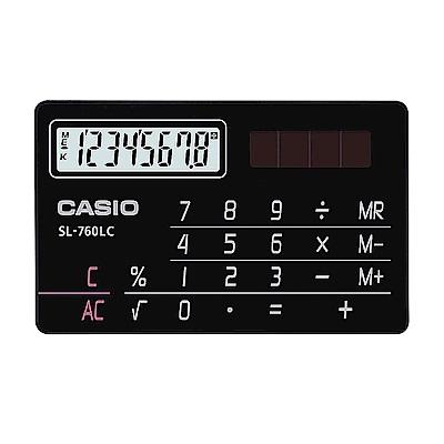 CASIO  國家考試專用機8位數名片型設計造型計算機-黑 (SL-760LC-BK)