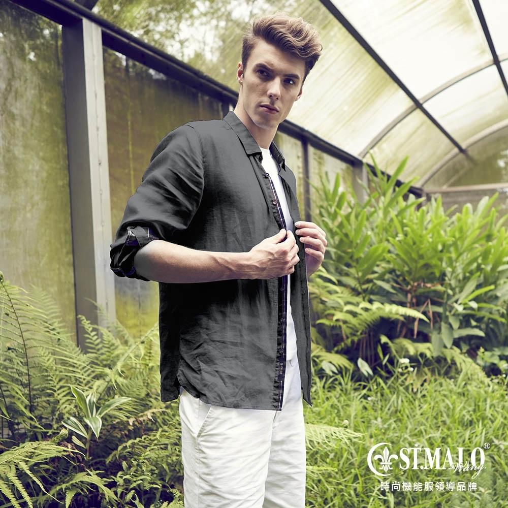 【ST.MALO】品格經典100%天然亞麻襯衫-鐵灰色