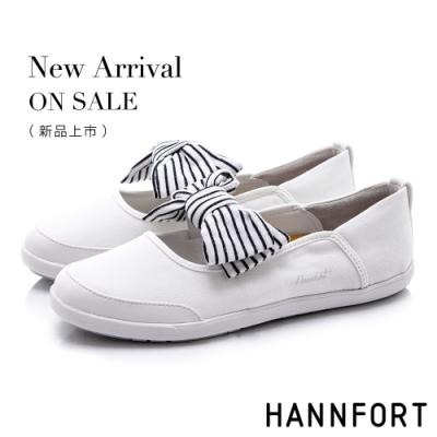HANNFORT CALIFORNIA 海軍條紋蝴蝶結休閒鞋-女-白