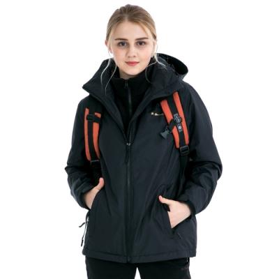 【St. Bonalt 聖伯納】女款兩件式4in1內刷毛衝鋒衣 (7254-黑色) 防風 防水 保暖 透氣 耐磨