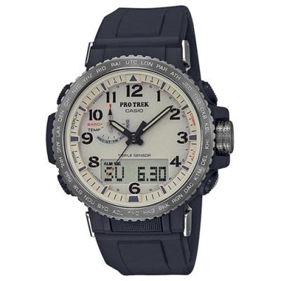 CASIO 卡西歐  PRO TREK太陽能電波手錶PRW-50Y-1B-黑x米色/50.5mm
