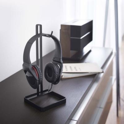 日本YAMAZAKI-桌上型耳機掛架-方(黑)★耳機架/包包架/香蕉掛架/耳機收納