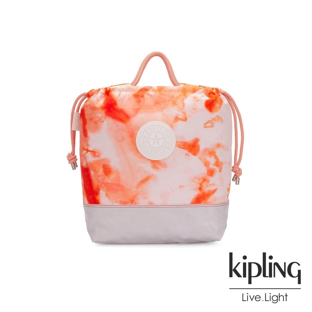 Kipling 夏日暈染珊瑚橘拉繩背提包-KIONAWA