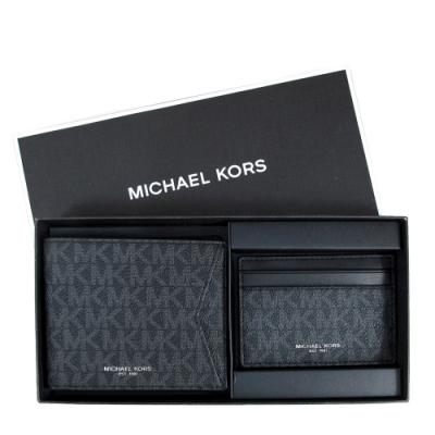 MICHAEL KORS Gifting 滿版Logo男夾證件卡夾禮盒組(黑色)