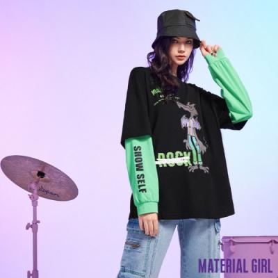 MATERIAL GIRL 狼來了撞色拼接長袖上衣【21春季款】-B13078