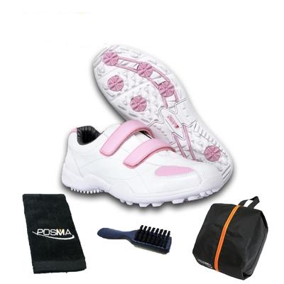 POSMA高爾夫球鞋 球鞋 時尚優雅 透氣舒適 女童鞋  配POSMA鞋包 2合1清潔刷 高爾夫球毛巾(22cm/EU34) GSH007WPNK