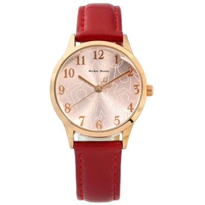 Disney 迪士尼米奇系列數字時標兒童卡通皮革手錶-銀粉x玫瑰金框x紅/32mm