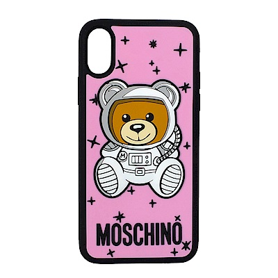MOSCHINO 新款可愛外星太空熊 I Phone X 軟膠手機殼 (粉紅)