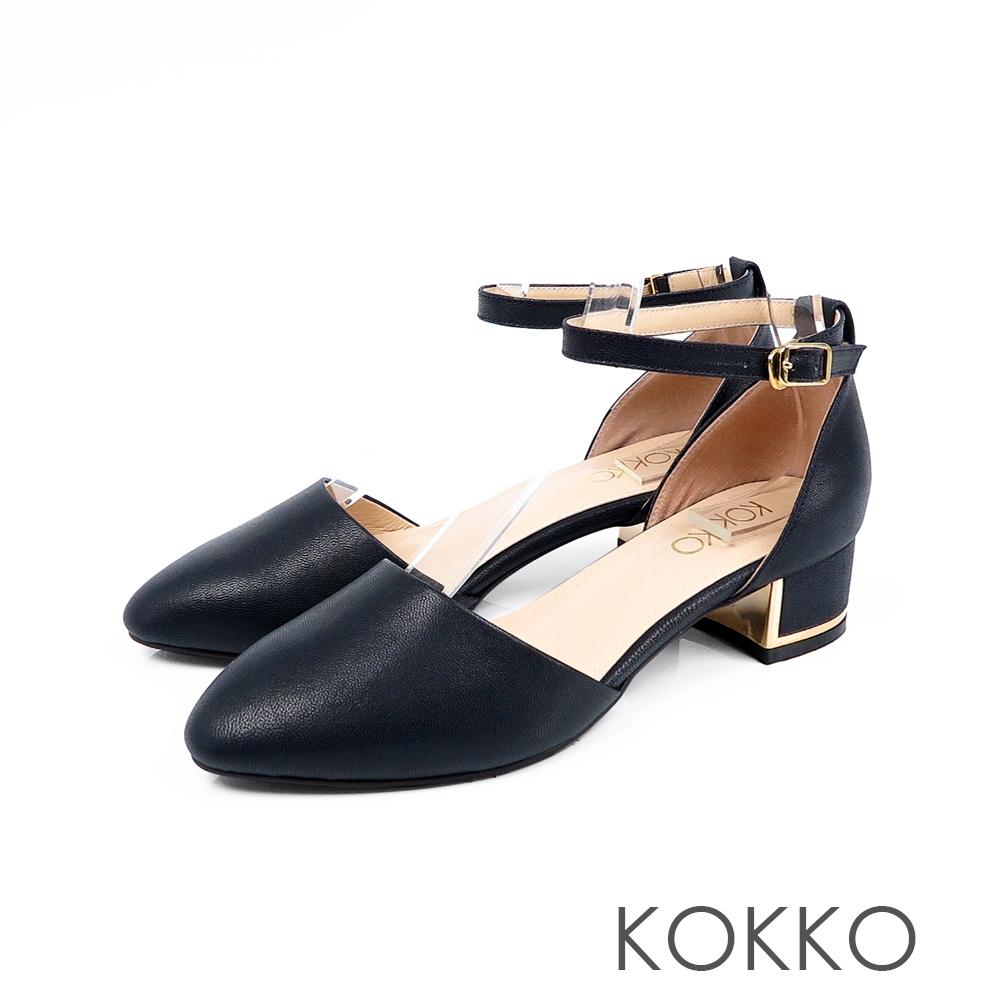 KOKKO - 清晨漫步金屬低跟真皮踝帶鞋 - 夜深藍