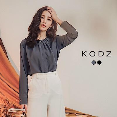 東京著衣-KODZ 知性簡約細緻排釦雪紡長袖上衣-S.M.L(共二色)