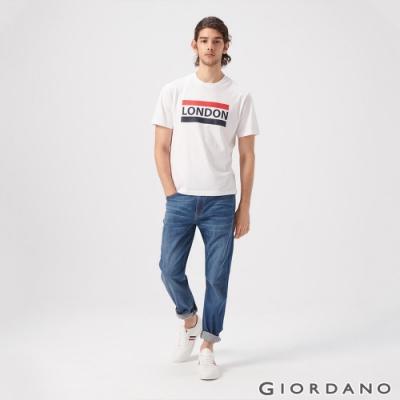 GIORDANO 男裝彈性中腰基本款牛仔褲-95 淺藍