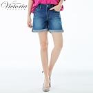 Victoria 中高腰吸濕排汗牛仔短褲-女-深藍