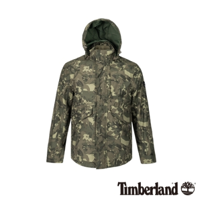 Timberland 男款軍綠色迷彩印花防水連帽外套三合一外套|A1XY5