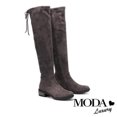 過膝靴 MODA Luxury 都市時尚彈力羊絨麂布燙鑽低跟過膝靴-灰